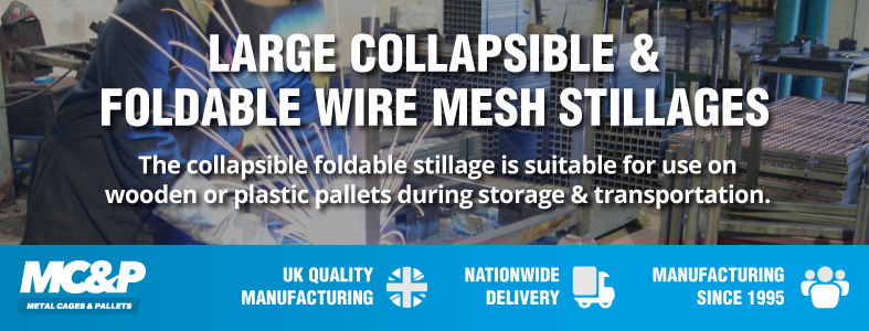 Foldable wire mesh pallet cage now in stock!