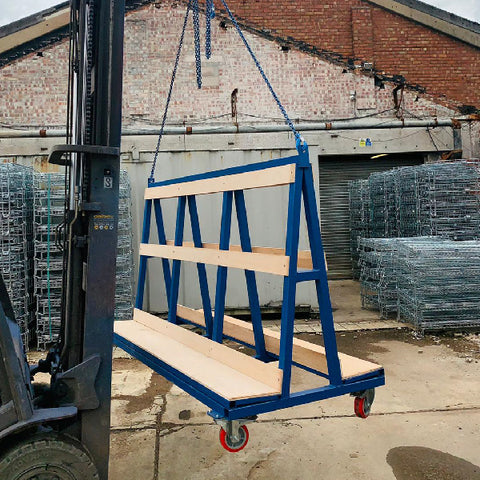 Photo of crane lift a frame stillage, suited to the safe lifting of glass