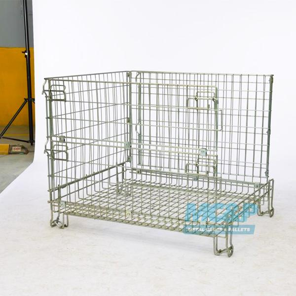 Photograph of our Zinc galvanised wire mesh pallet cage.