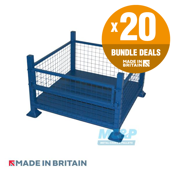 Metal Half Drop Fronted Mesh Stillage - x20 UNIT BUNDLE DEAL - SAVE 10%