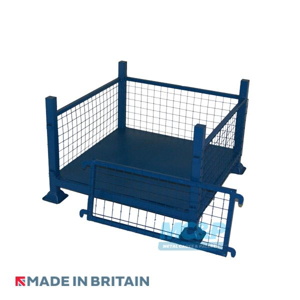 Metal Cage Stillage made with mesh and sheet steel with drop front door