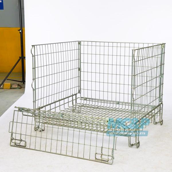 Photograph of our foldable wire mesh pallet cage.