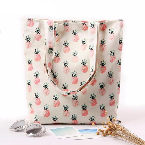 Pineapple Printed Sophisticated Canvas Tote Bag - The Trendy Twist