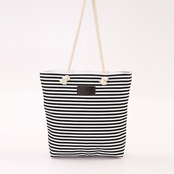 Trendy stripe printed canvas tote shopping bags - The Trendy Twist