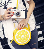Round Lemon Pattern Zipper Crossbody Bag - The Trendy Twist
