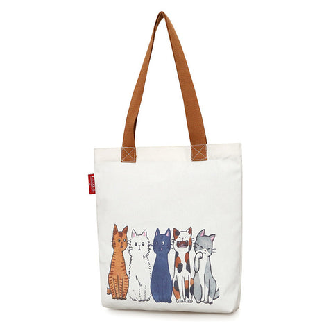 Trendy & cute cat printed canvas Tote female shopping bags - The Trendy Twist