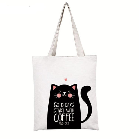 Cute cat printed canvas Tote female shopping bag - The Trendy Twist