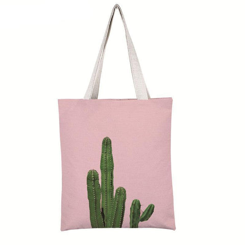 Stylish large capacity cactus printed shoulder bag - The Trendy Twist