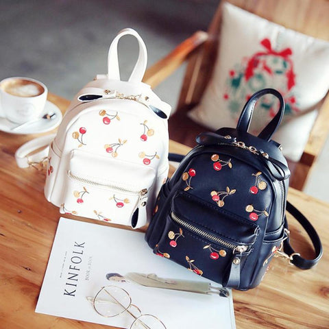Trendy cherry print mini backpacks - The Trendy Twist
