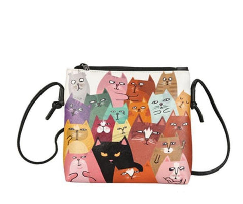 Cute cat printed mini women handbags - The Trendy Twist