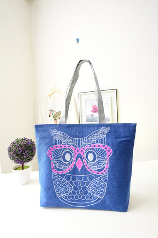 Stylish Owl Printed Shopping Handbag - The Trendy Twist