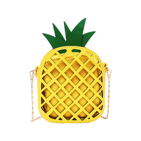 Trendy Pineapple Bag with Chain Hollow Out Fruit Handbag - The Trendy Twist