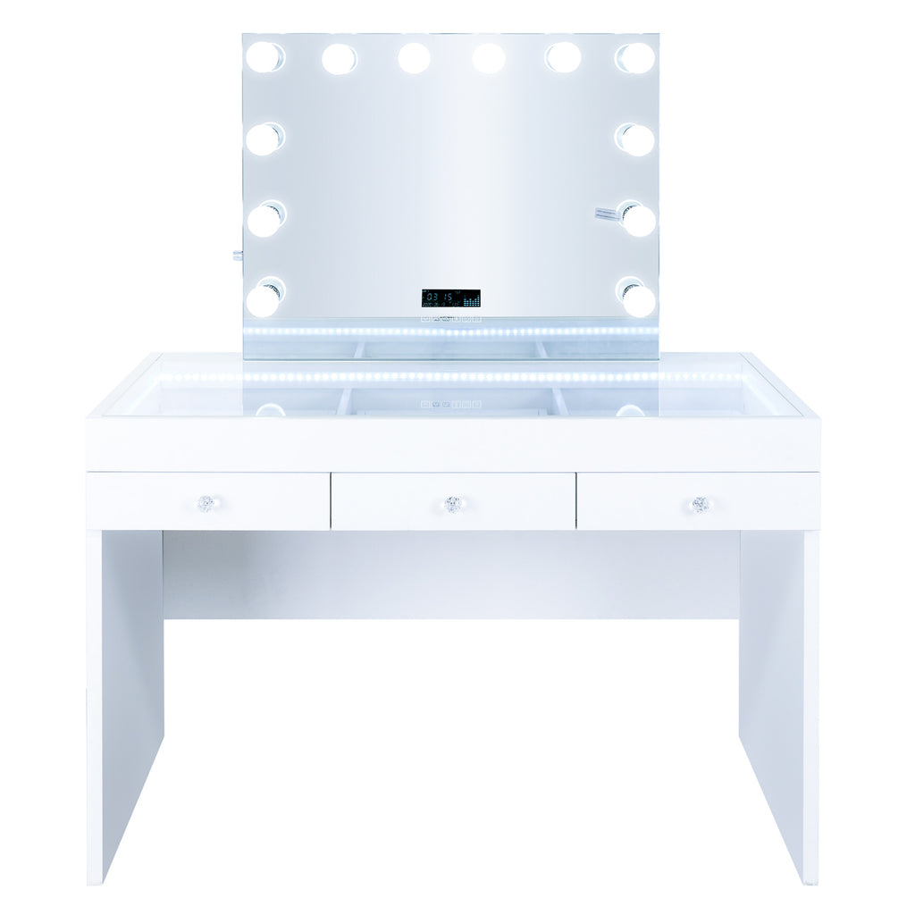 Fiat Lux Lighted 3-Drawer Vanity Table with Kelly BT Mirror