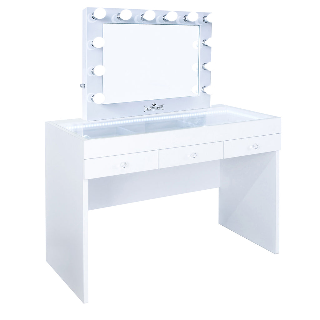 FIAT LUX LIGHTED 3-DRAWER VANITY TABLE WITH Sophia Classic