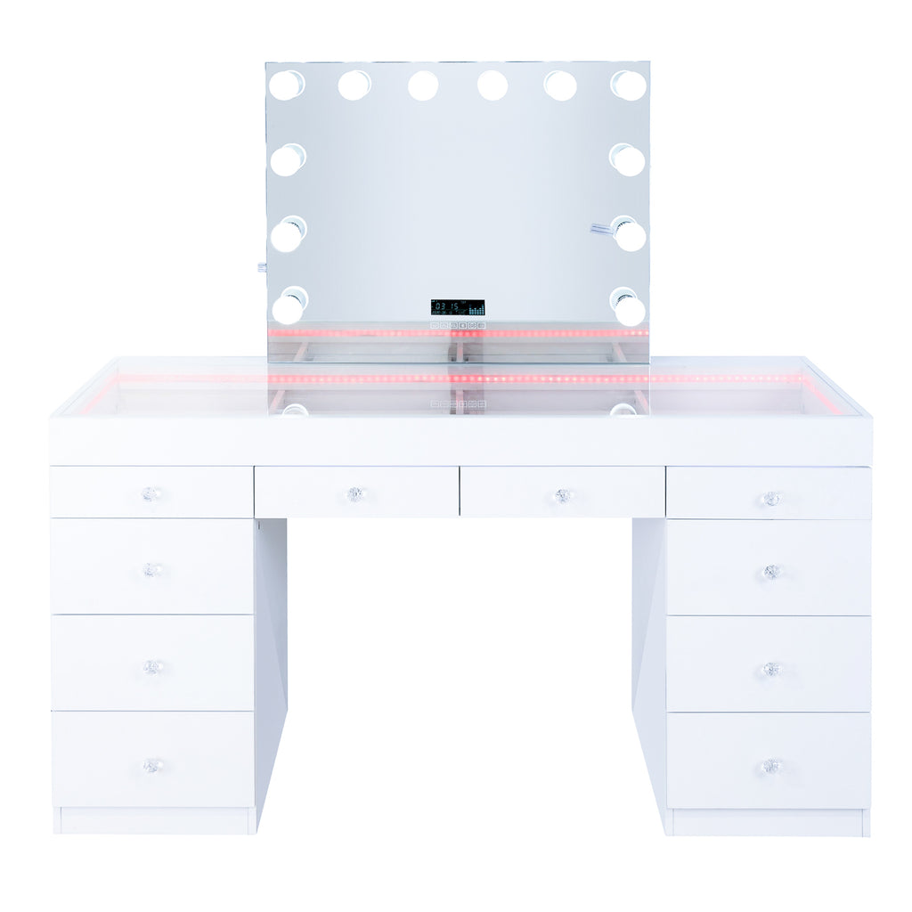 Fiat Lux Lighted 10-Drawer Vanity Table + Kelly BT Mirror