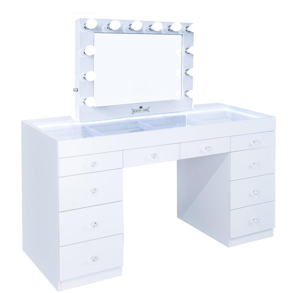 FIAT LUX LIGHTED 10-DRAWER VANITY TABLE + SOPHIA Classic