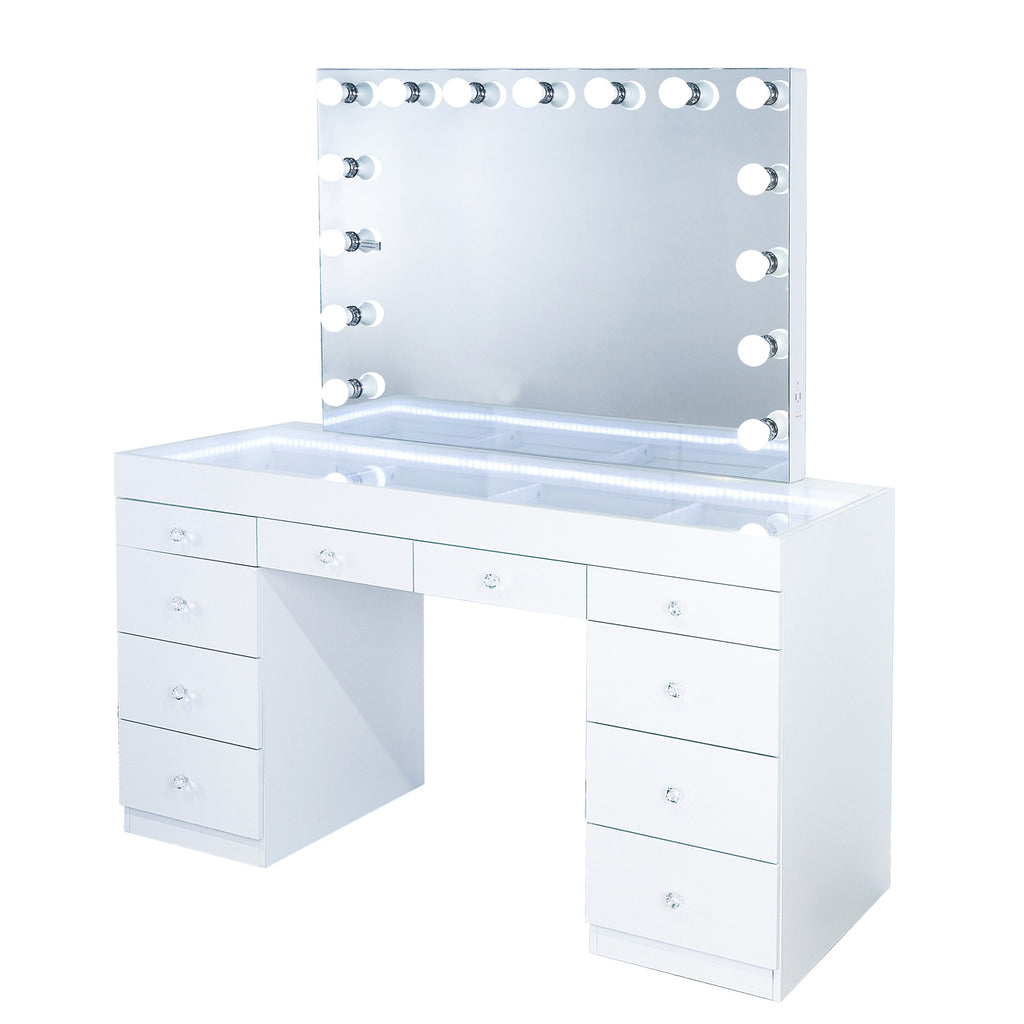 Fiat Lux Lighted 10-Drawer Vanity Table + Marilyn Classic