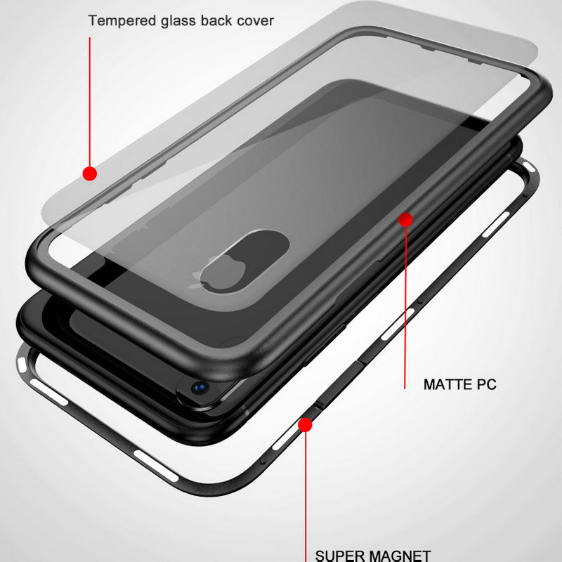 separation shoes d149f 0cb98 360 Magnetic Adsorption Case for iPhone XS XS MAX XR X 8 8P 7 7P + Tempered  Glass Back Cover for iPhone XS XS MAX XR X 8 8P 7 7P Hard case