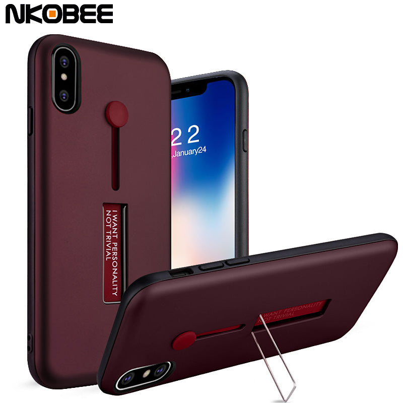 cheaper 18600 28cb9 Finger Ring Stand Silicone Case For iPhone Xs Xs Max XR X 8 8p 7 7p