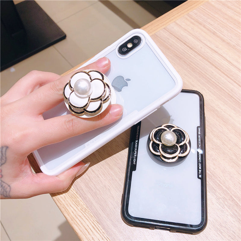 best sneakers 11bf2 69bc2 Transparent clear flower and pearl popsocket protective case for iPhoneXS  max XS XR X 8 8P 7 7P