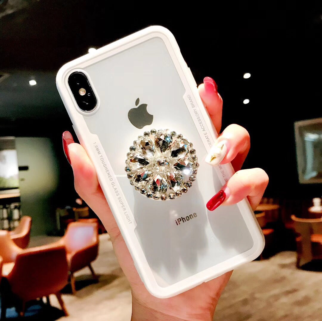 Viral on youtube and instagram hottest iPhoneXS MAX case with popsocket  socket rhinestone case XS XR