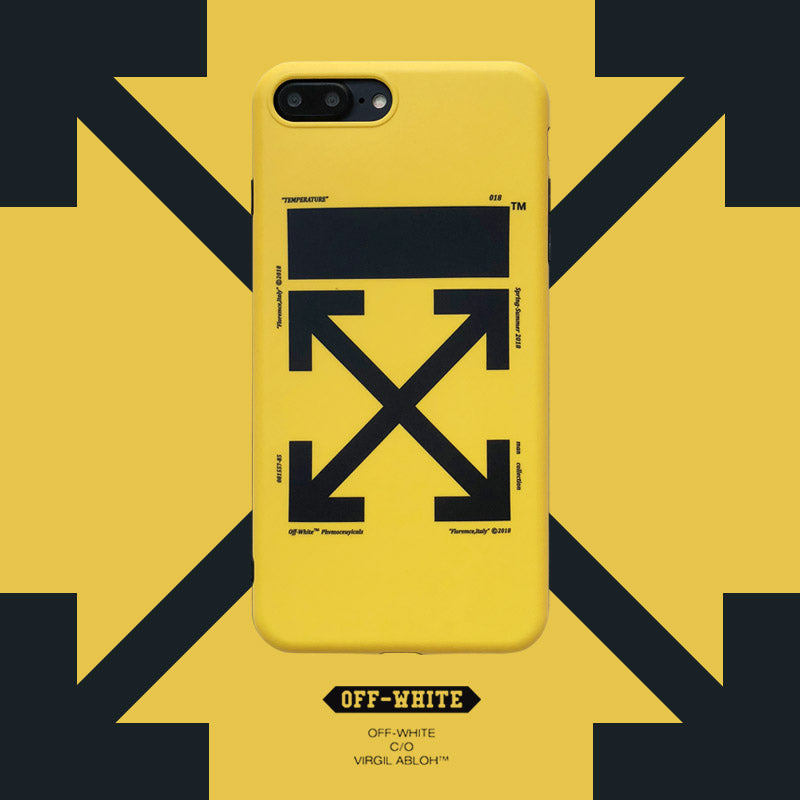 low priced c9458 381b3 OW iphone case with lanyard hole shockproof yellow/black soft TPU case for  iPhone X 8 8plus 7 7plus