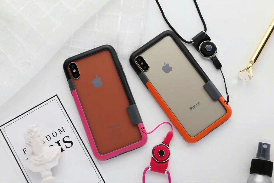 to buy 5a8ac a14f3 COLORFUL SOFT ANTI-KNOCK FRAME WITH LANYARDS CASE FOR IPHONE X 8 8P 7 7P