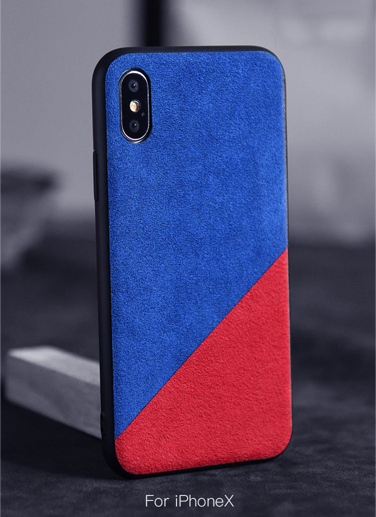 super popular e63d8 73b16 Blocking color style Luxury Alcantara Material case for iPhone Xs Xs Max XR  X
