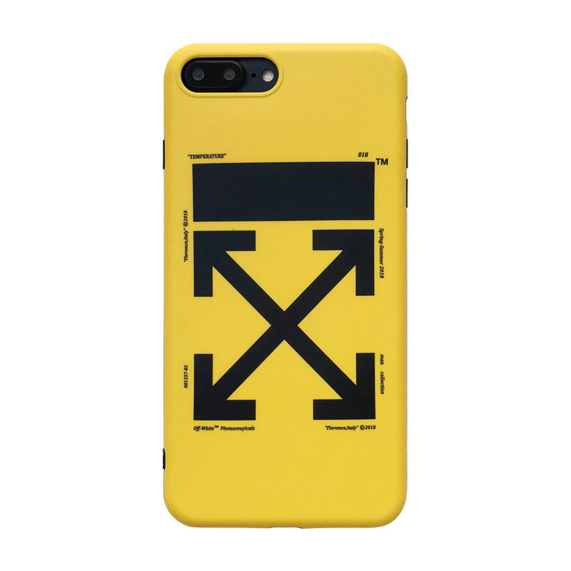 low priced 2d5d4 94c1d OW iphone case with lanyard hole shockproof yellow/black soft TPU case for  iPhone X 8 8plus 7 7plus
