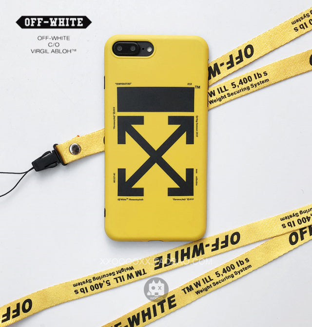 low priced 8eded 90dc2 OW iphone case with lanyard hole shockproof yellow/black soft TPU case for  iPhone X 8 8plus 7 7plus