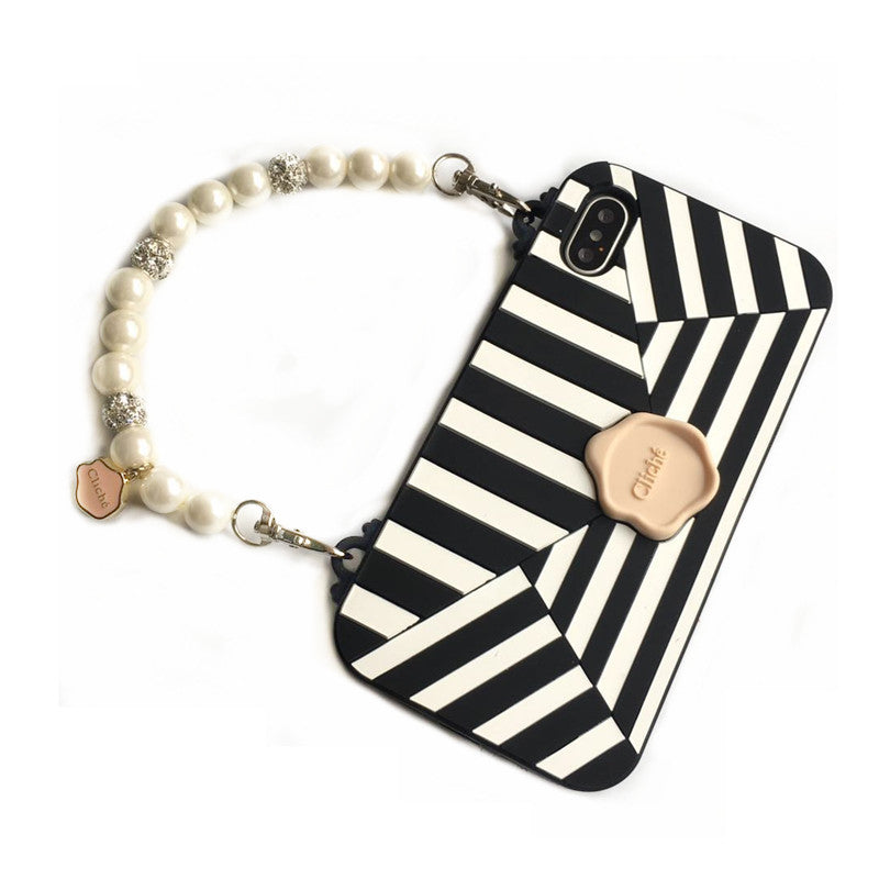 best service 6de28 4378e Sculpture purse case with pearl lanyards for iPhone X 8 8p 7 7p