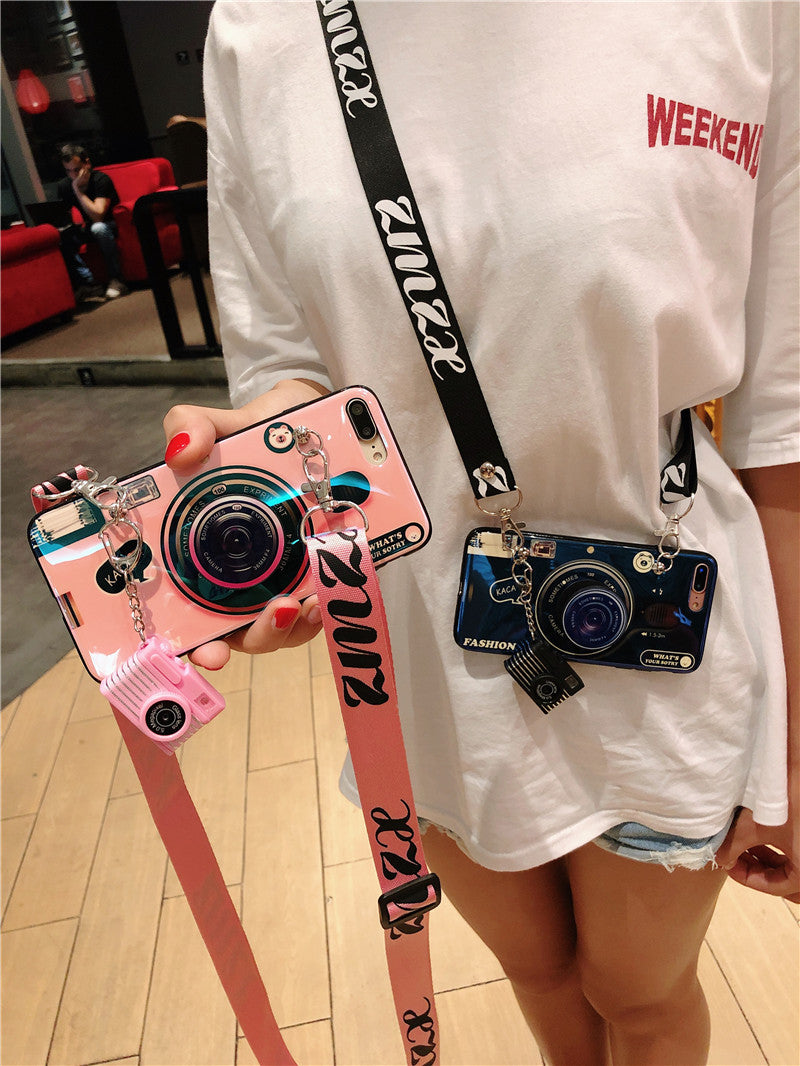 the latest 40813 929bb Cute camera case with lanyard and shutter sound popsocket case for iPhone  XS XS MAX XR X 8 8P 7 7P
