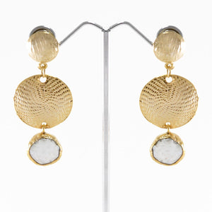 Natural Pearl Shield Earrings