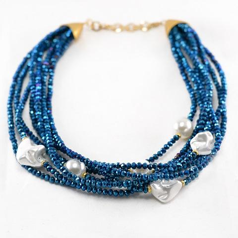 Blue Bead Pearl Necklace