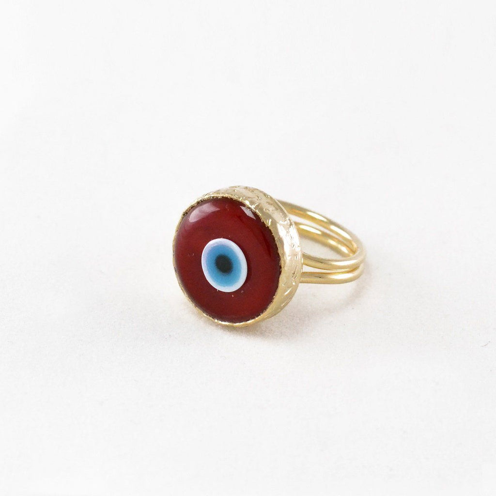 Red Evil Eye Adjustable Ring