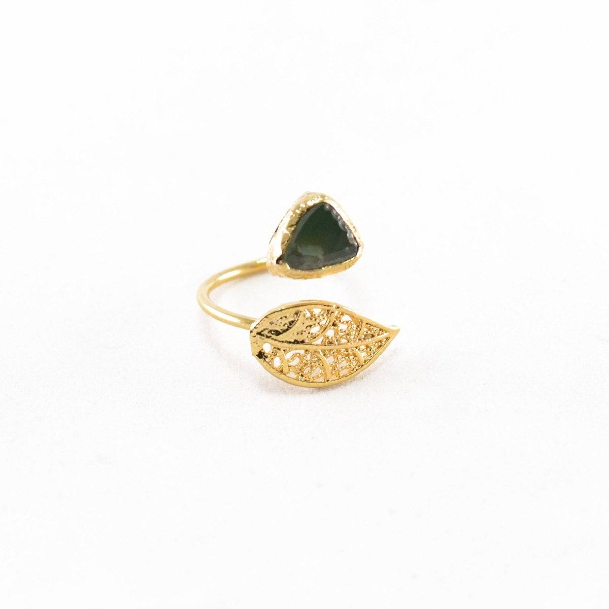 Leaf Natural Stone Ring
