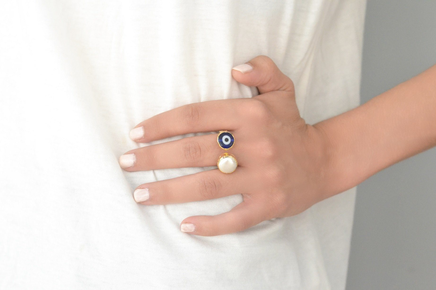 Evil Eye Pearl Ring