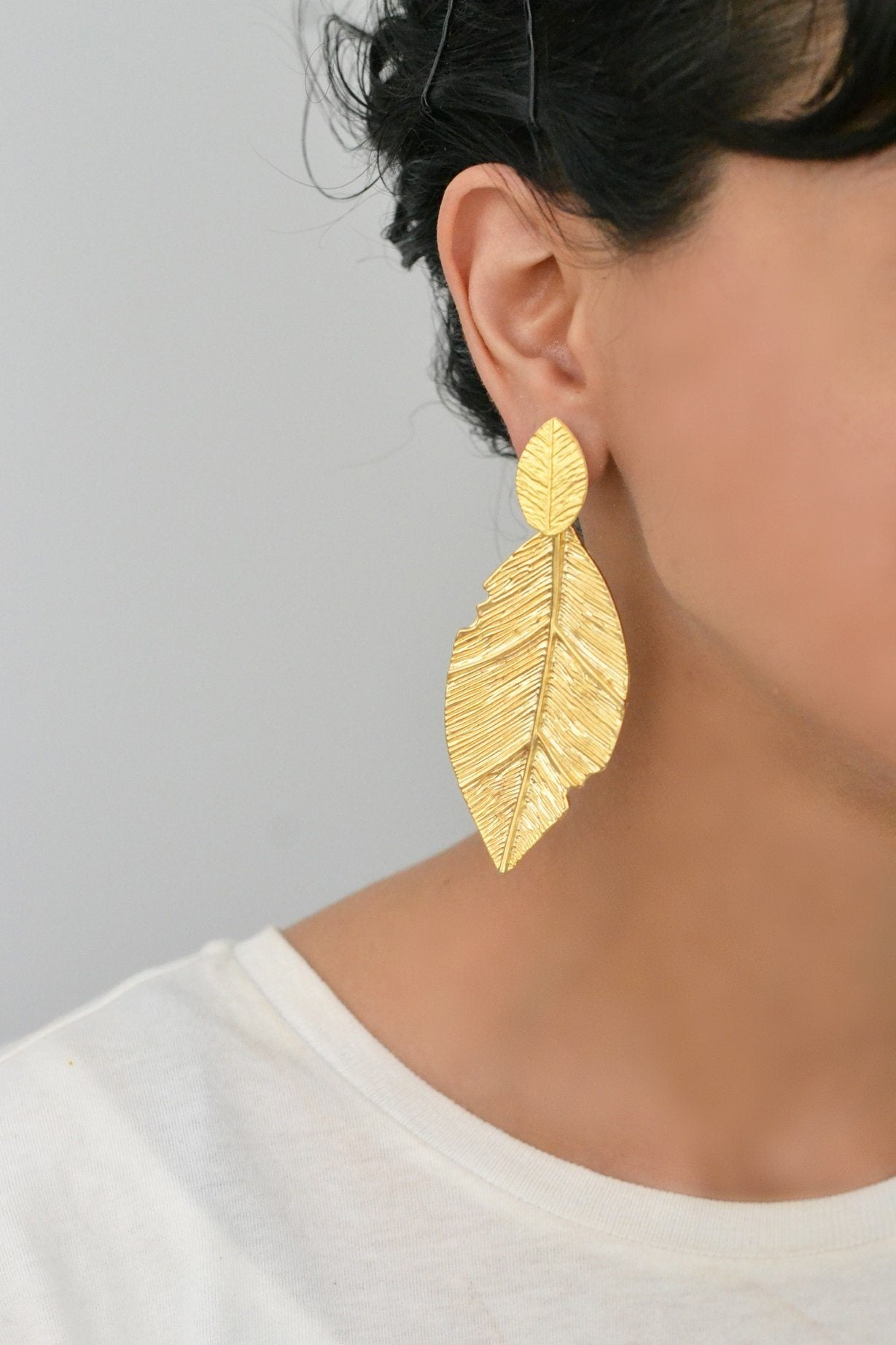 Chunky Leaf Earrings