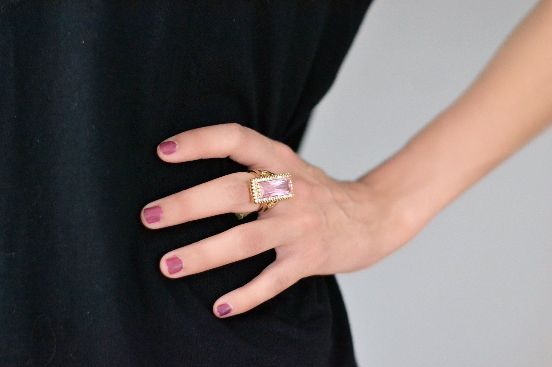 Pink Cocktail Silver Ring