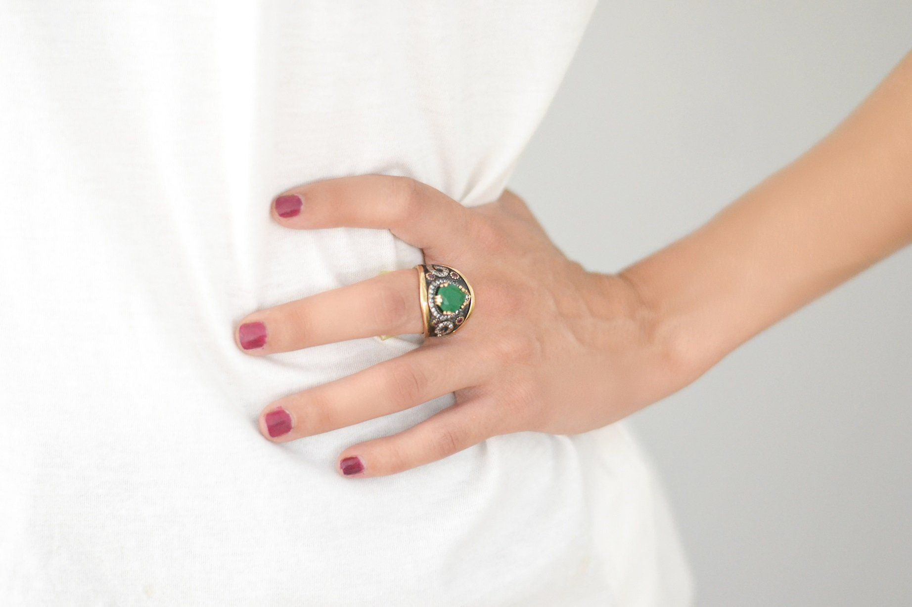 Forest Green  Silver Ring