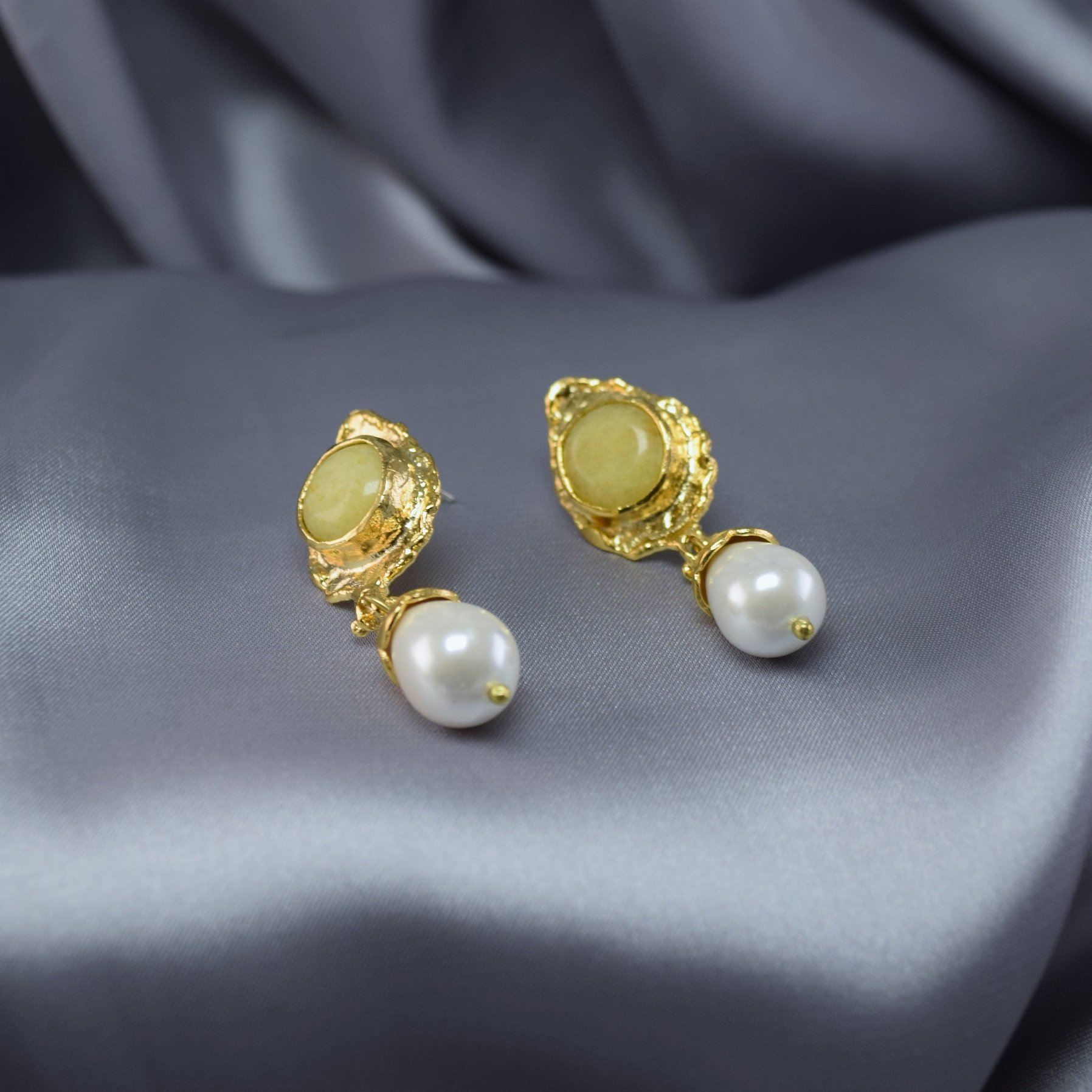 Natural Stone Pearl Earrings