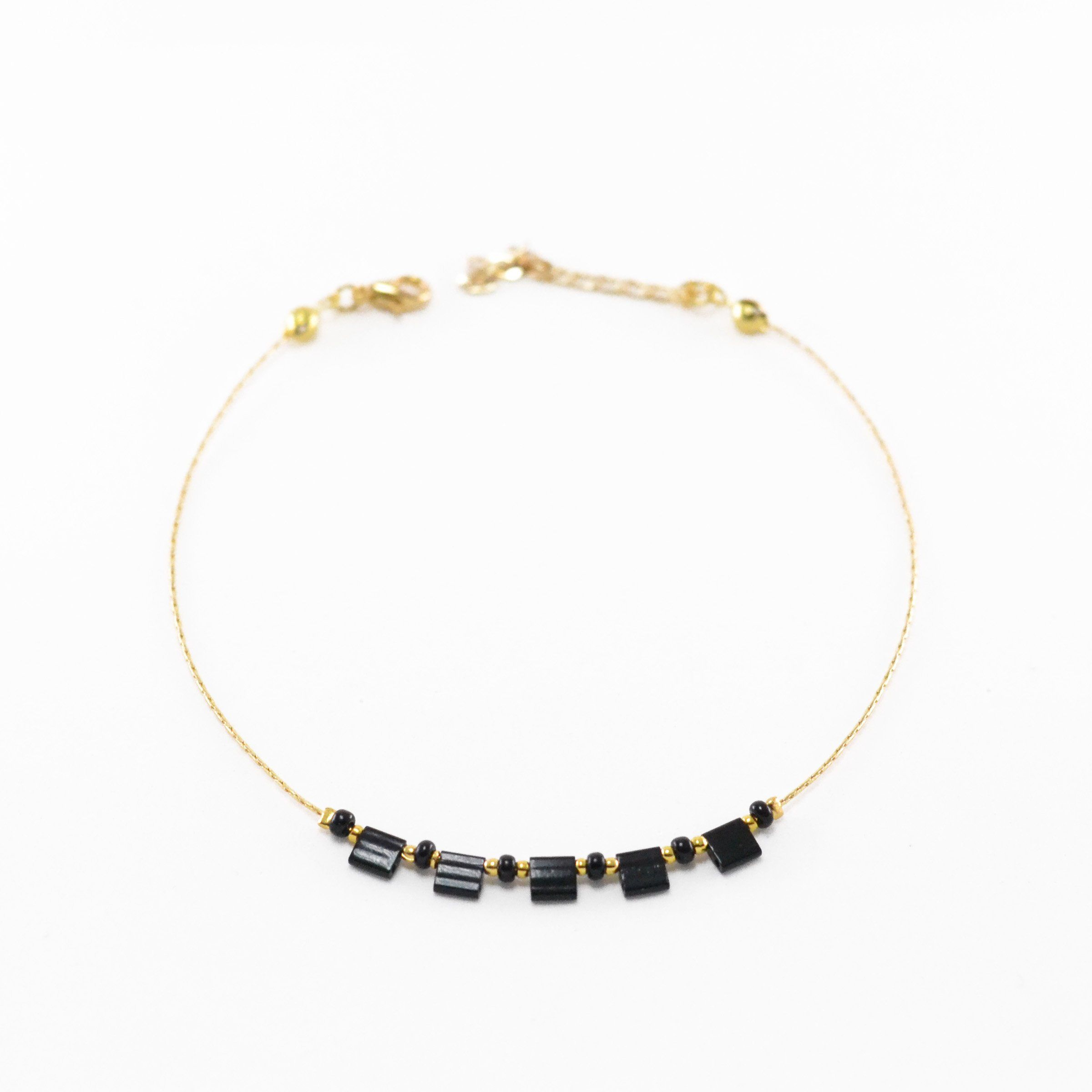 Black Beads Anklet