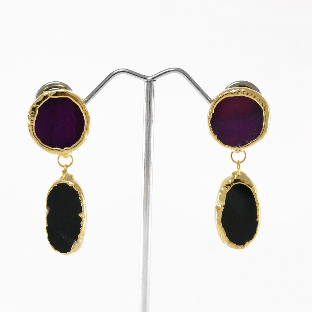 Natural Stone Purple Earrings