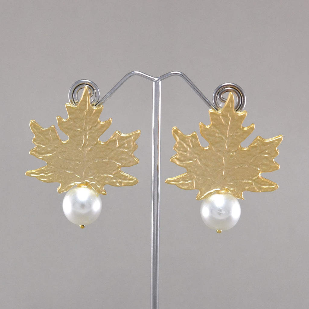 Maple Leaf Pearl Earrings