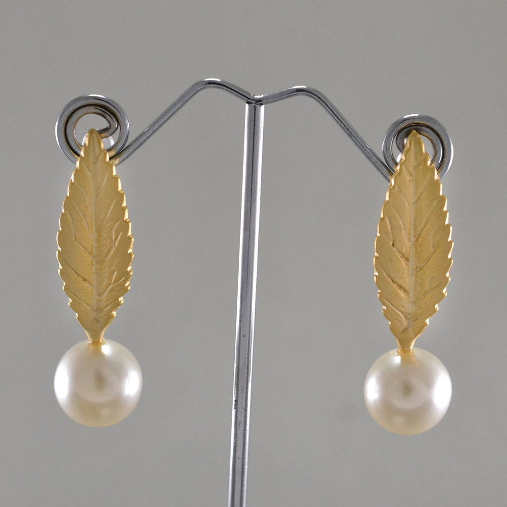 Long Leaf Pearl Earrings