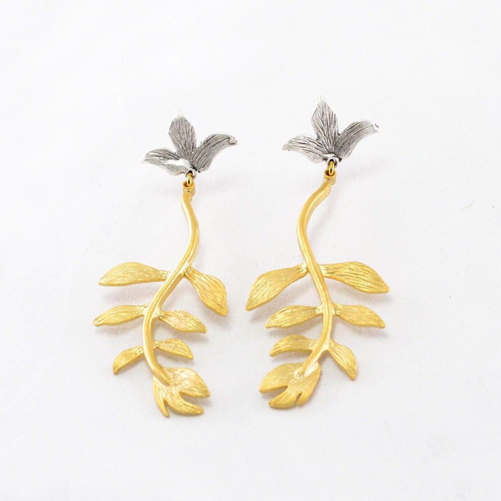 2 Stone Leaf Earrings