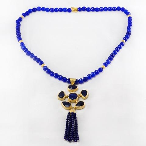 Blue Beads Tassel Necklace