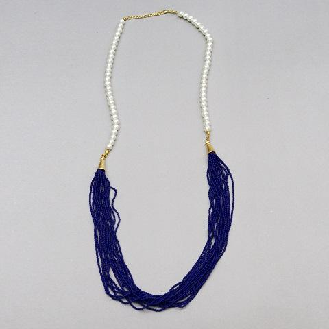 Pearl & Blue Beads Garland Necklace