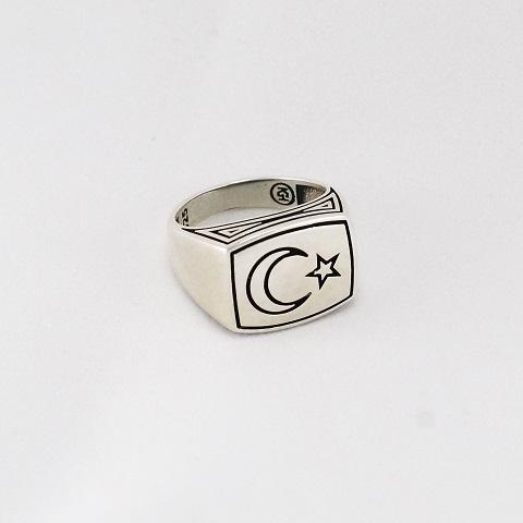 Star & Crescent Silver Ring