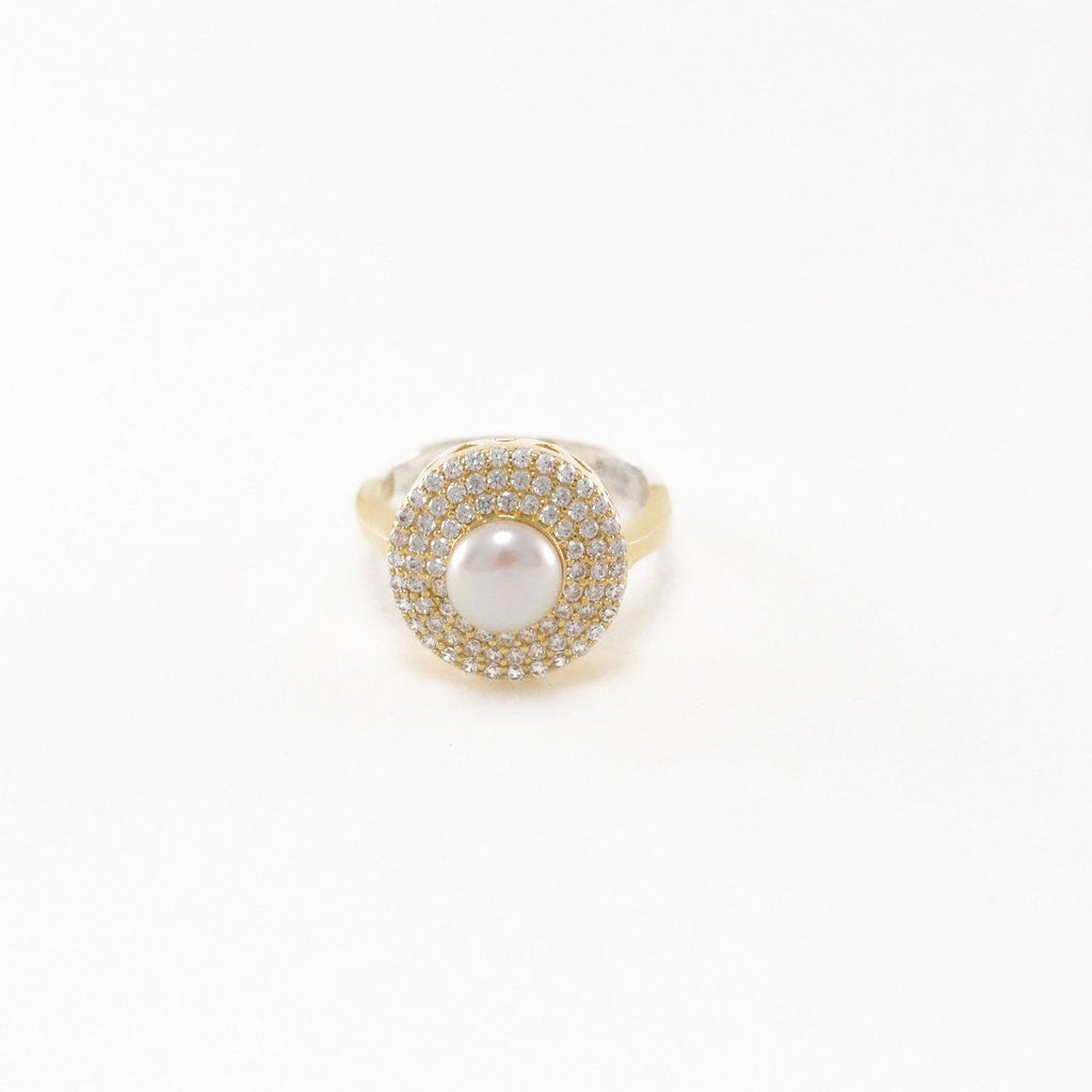 Pearly Glow Silver Ring